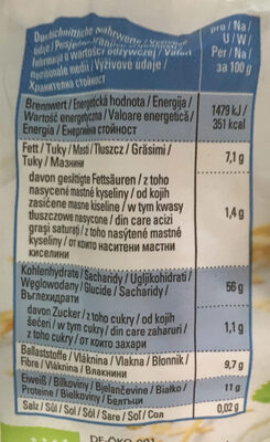 Vollkorn-Haferflocken - Informations nutritionnelles