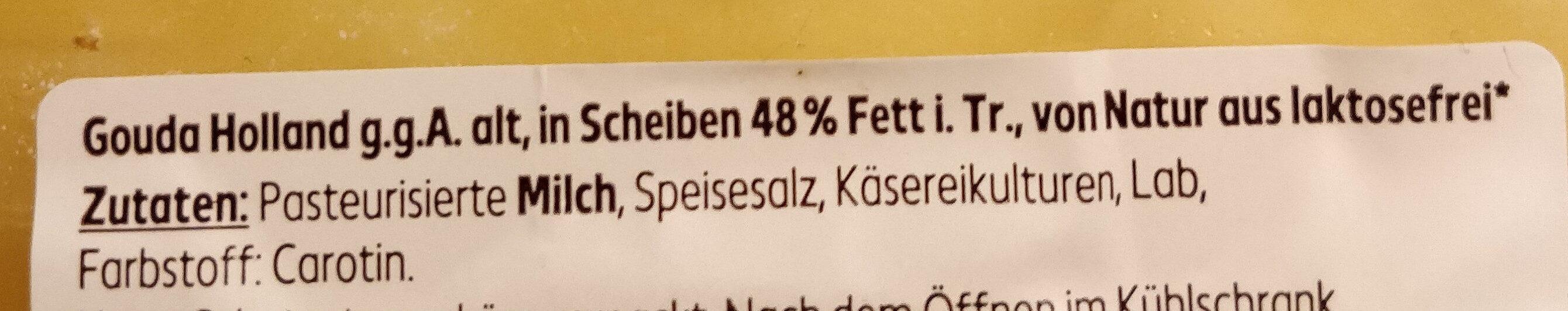 Gouda Holland g.g.A alt in Scheiben 48% Fett i.Tr. - Ingredients - de