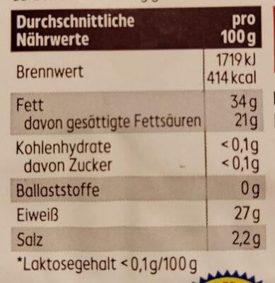 Gouda Holland g.g.A alt in Scheiben 48% Fett i.Tr. - Nutrition facts - de