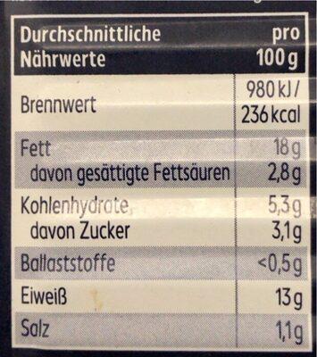 Heringsfilets Tomaten-Creme - Nutrition facts - en