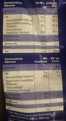 Chips Salz - Informations nutritionnelles