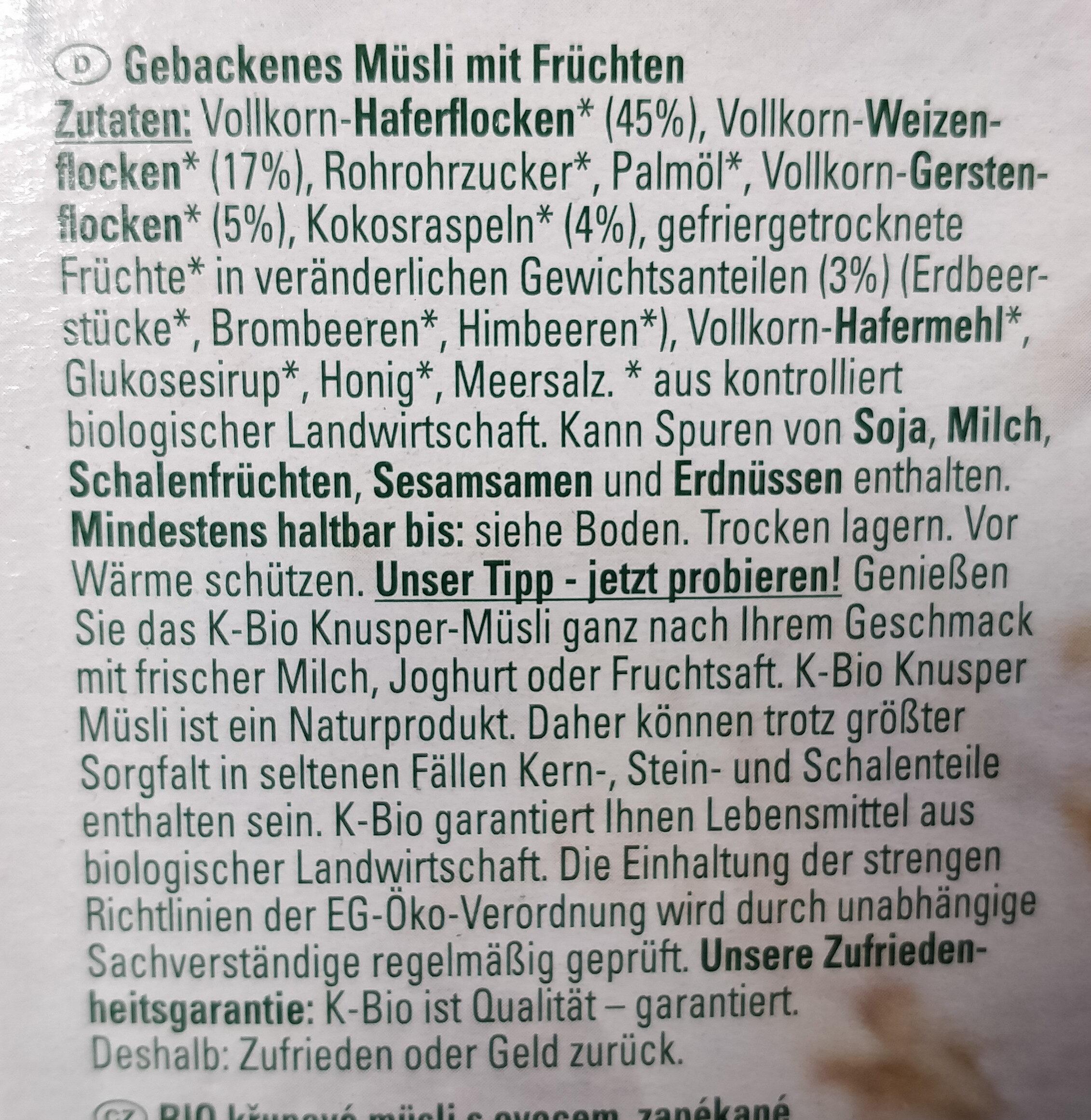 Knusper-Müsli mit Früchten - Ingrediënten - de