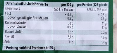 Gnocchi - Nutrition facts - de
