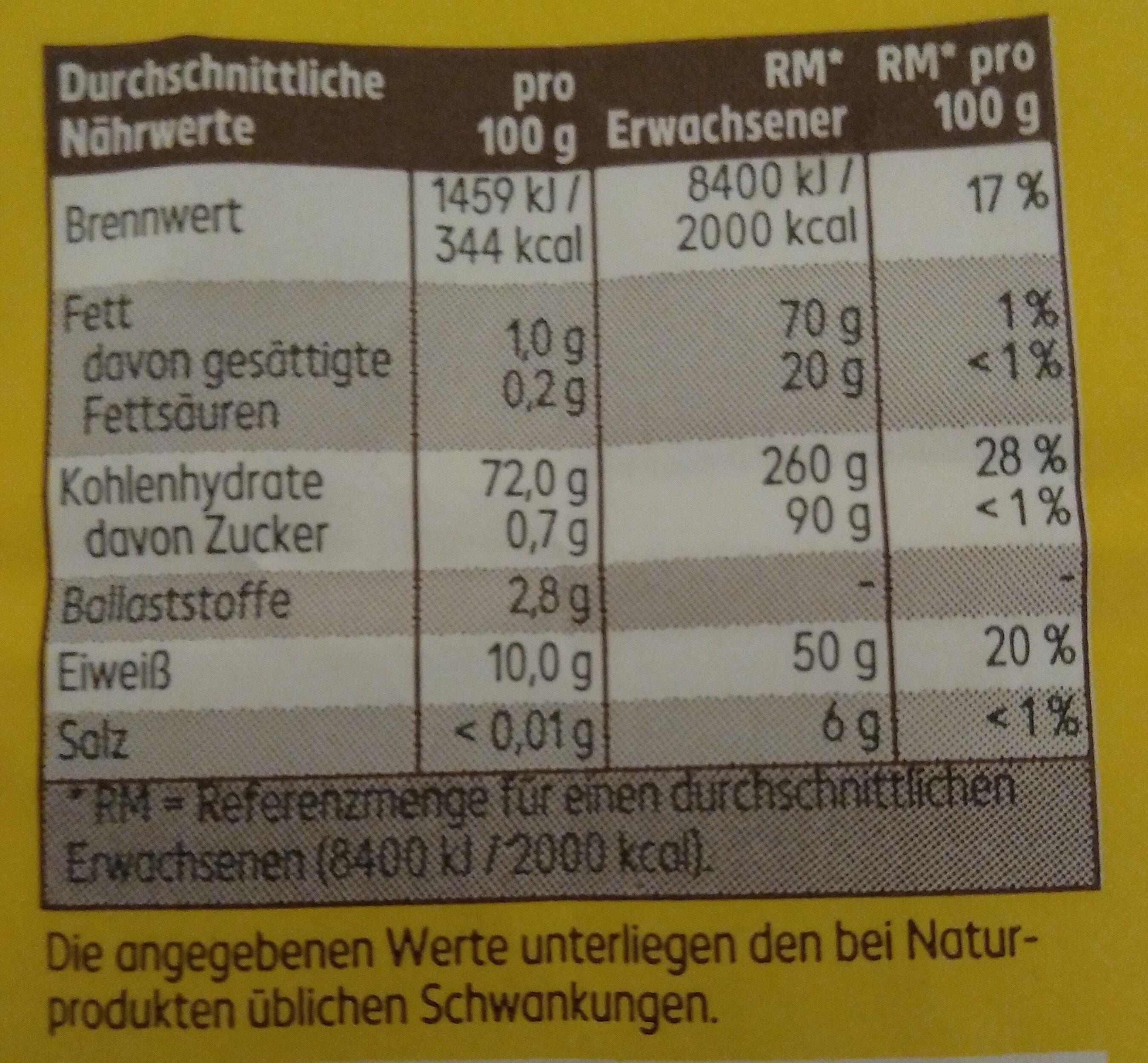 Mehl,  Weizenmehl Typ 405 - Informations nutritionnelles - de