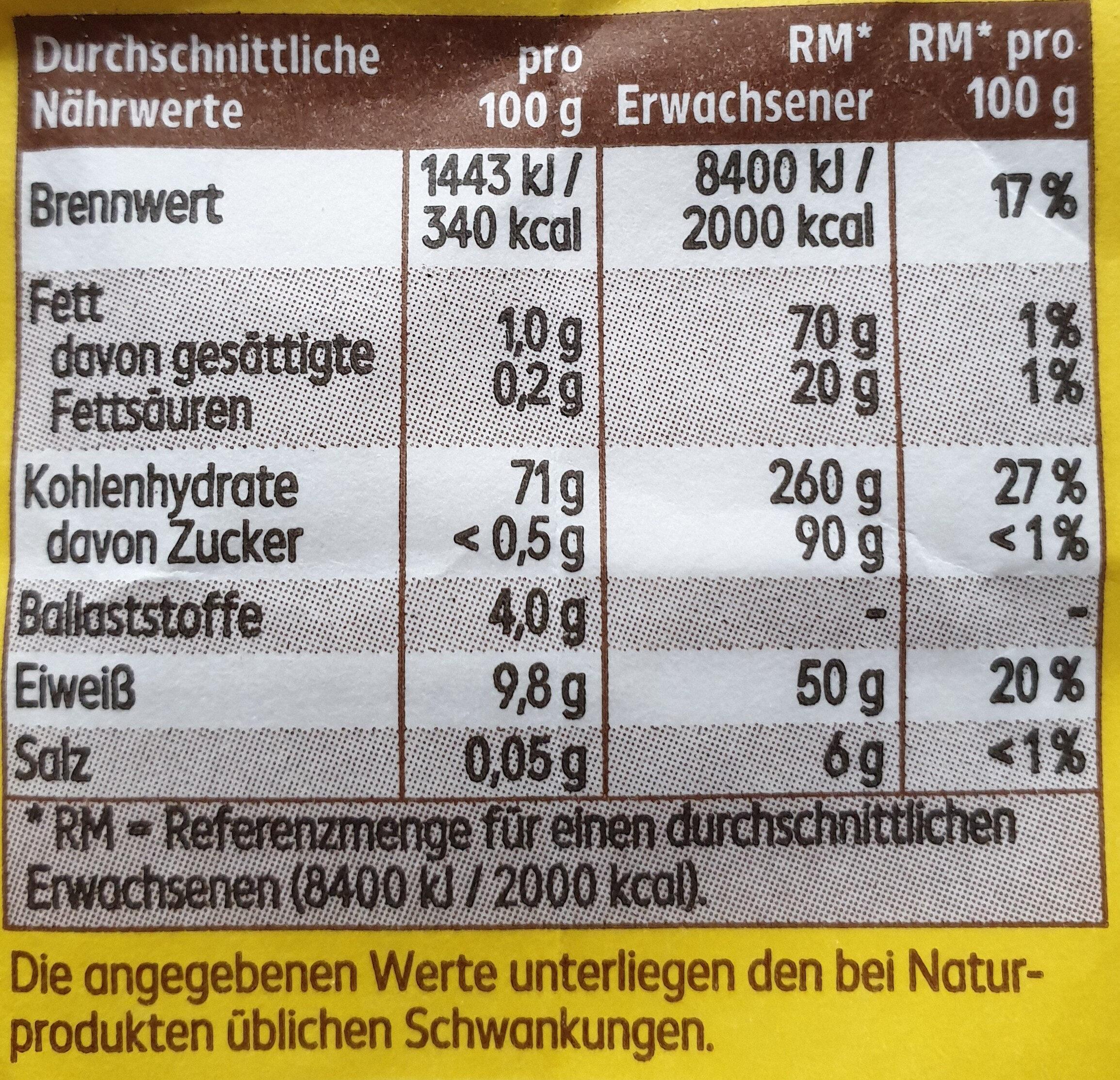 Weizenmehl Typ 405 - Informazioni nutrizionali - de