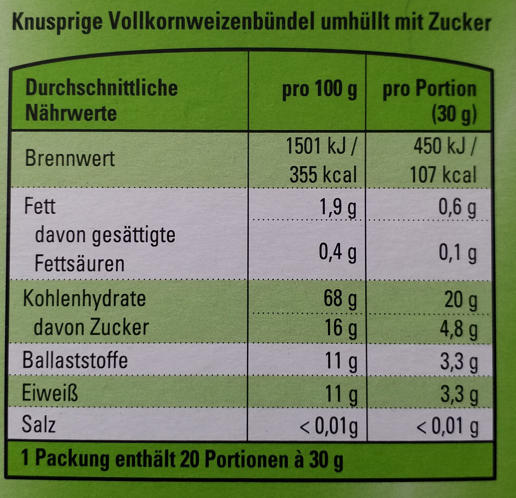 Wheat Pillows White - Informations nutritionnelles