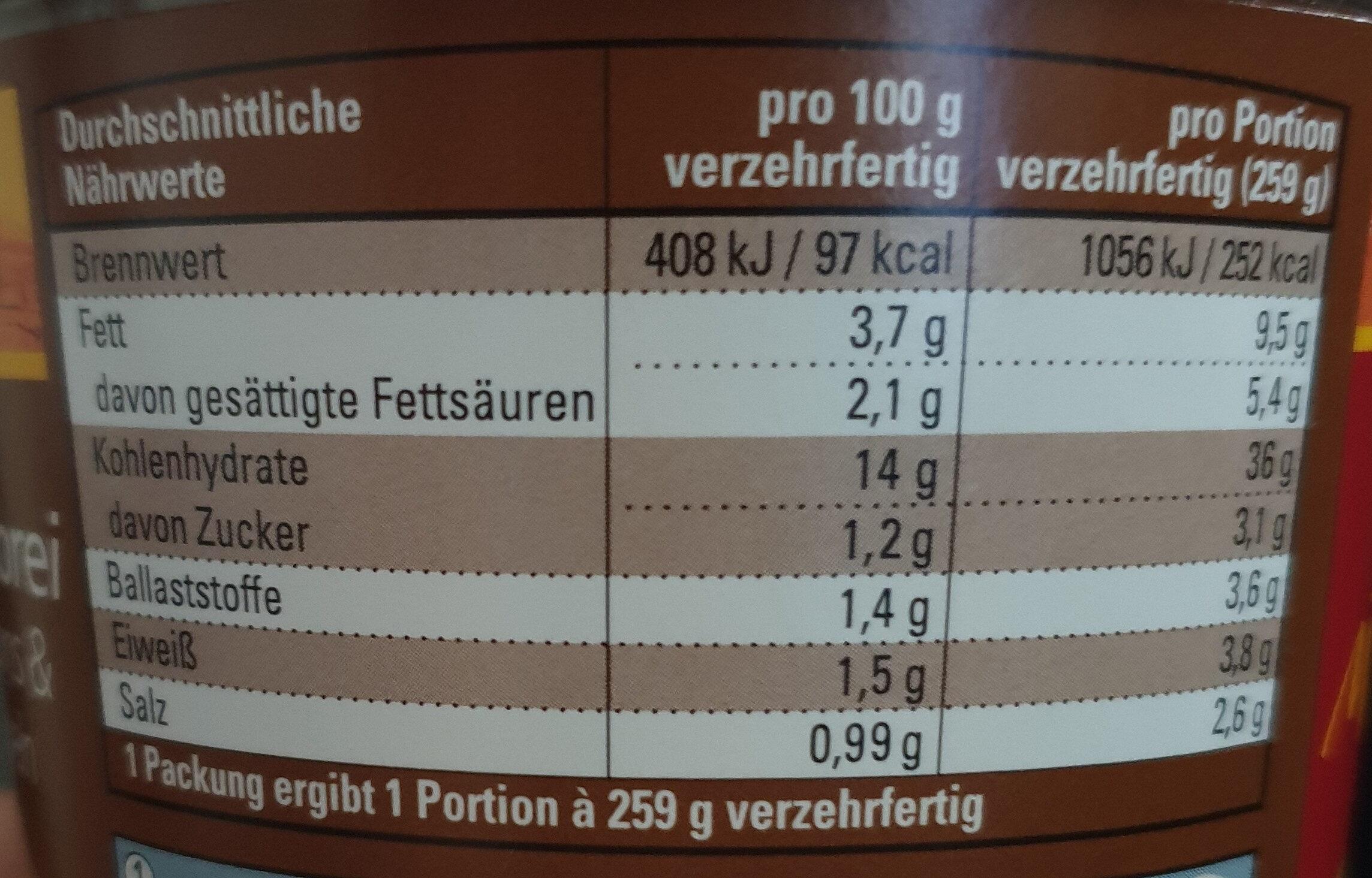 Kartoffelbrei mit Croûtons und Röstzwiebeln - Informations nutritionnelles