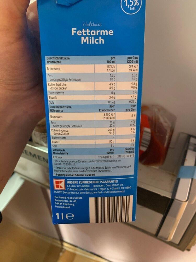 Haltbare Fettarme Milch 1,5% Fett - Zutaten - de