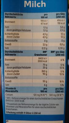 Haltbare Fettarme Milch - Informations nutritionnelles - de