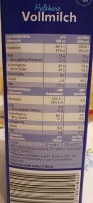 H Milch - Nährwertangaben - de