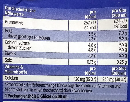 Haltbare Voll-Milch - Nutrition facts