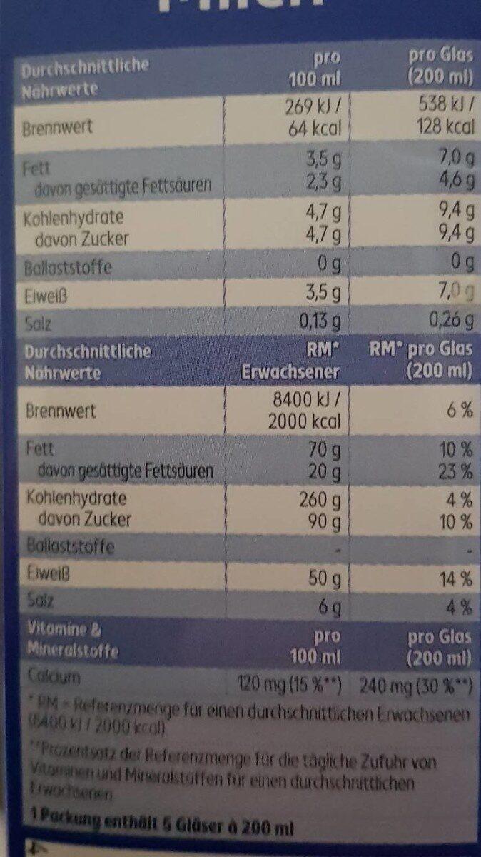 Classic Haltbare Voll-Milch - Nährwertangaben - de