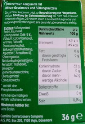 Kaugummi spearmint - Nutrition facts - de