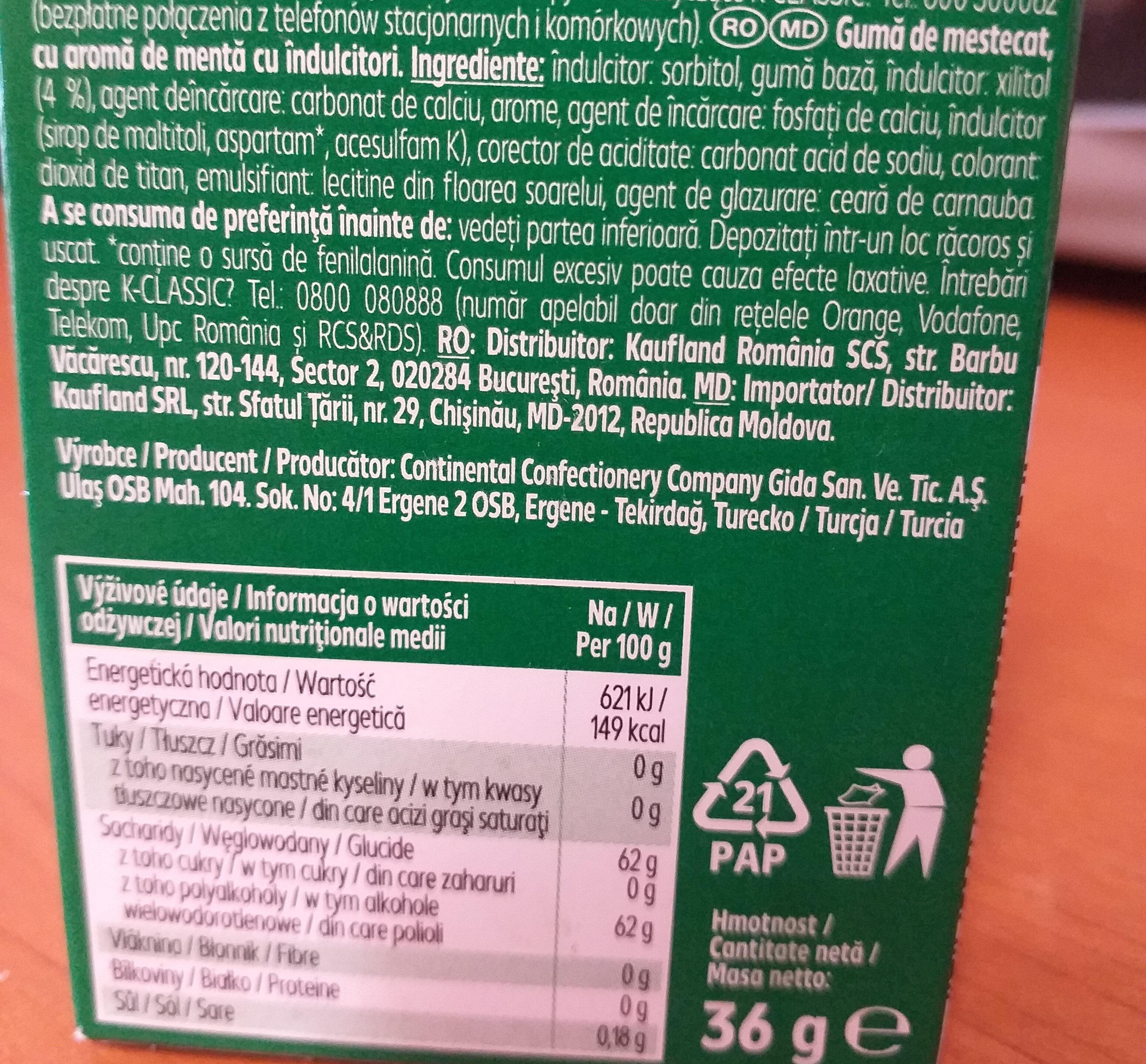 Chewing Gum Spear-Mint - Ingrediënten - en