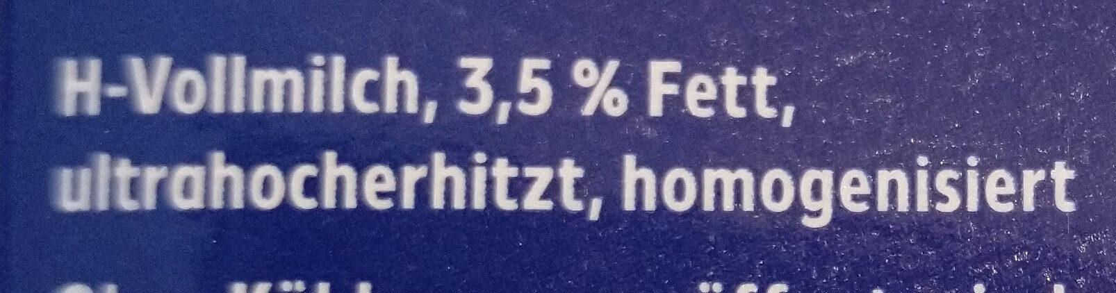 Haltbare Vollmilch - Ingrédients - de