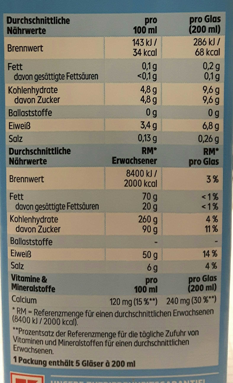 Haltbare Entrahmte Milch - Nutrition facts
