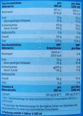 Fettarme Milch - Nährwertangaben - de