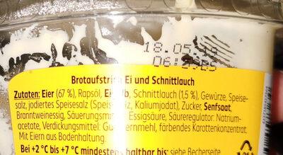 Brotaufstrich Ei und Schnittlauch - Ingrediënten - de