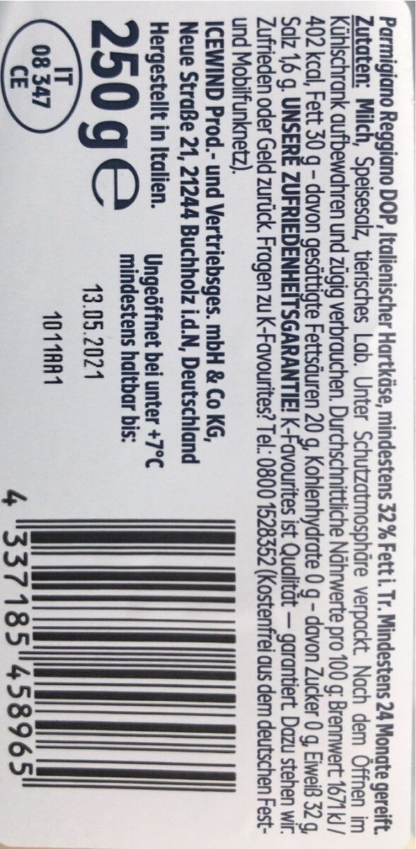 Parmigiano Reggiano DOP - Informations nutritionnelles - de