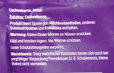 Cashewkerne natur - Ingredients - de