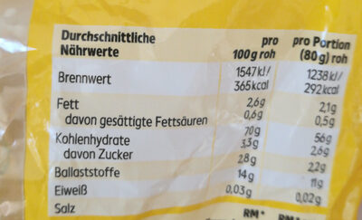 Nudeln, Spiralen - Nutrition facts - de