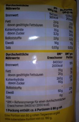 "Spiralen ,,Nudeln"" - Nutrition facts - de"