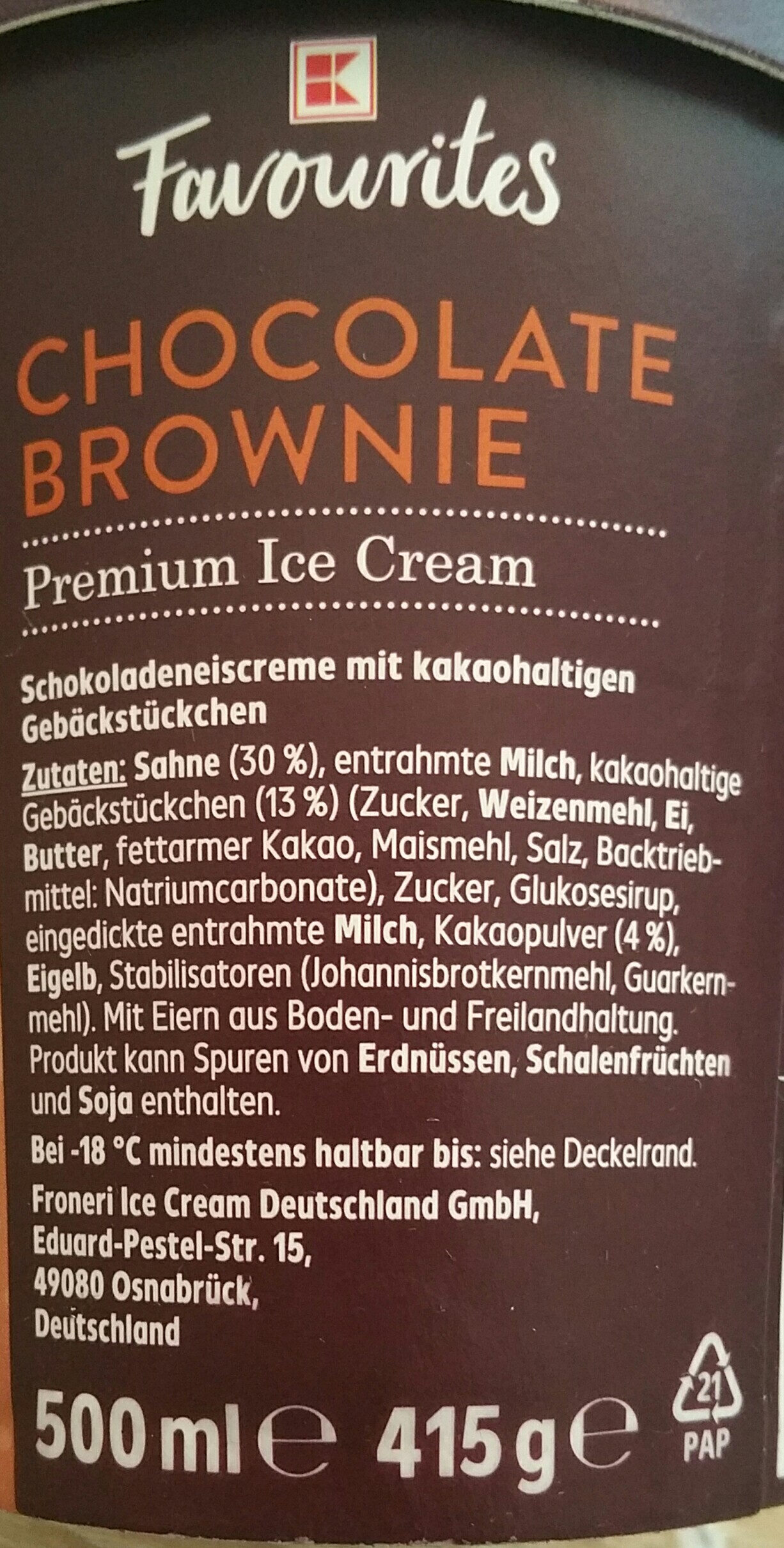 Chocolate Brownie Premium Ice Cream - Inhaltsstoffe - de