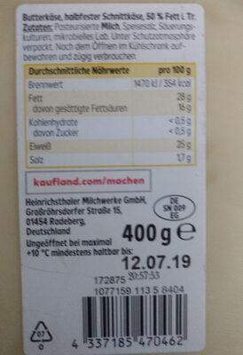 Butterkäse mild in Scheiben - Ingredients