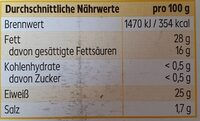 Butterkäse in Scheiben (mild) - Nutrition facts - de