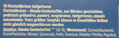 15 knusprig panierte Fischstäbchen - Ingredients - de