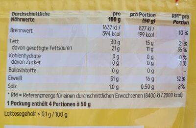 Emmentaler mild-nussig gerieben - Valori nutrizionali - de