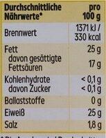 Käseaufschnitt - Nutrition facts - de