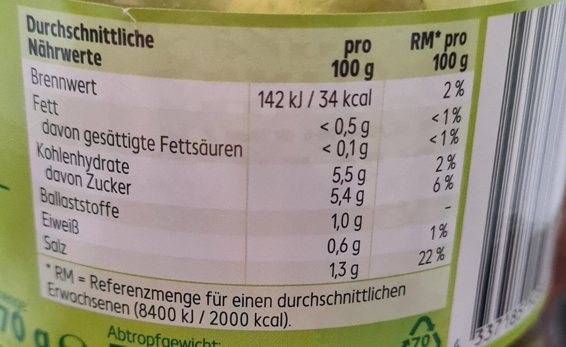 Knackige Cornichons würzig - Valori nutrizionali - de