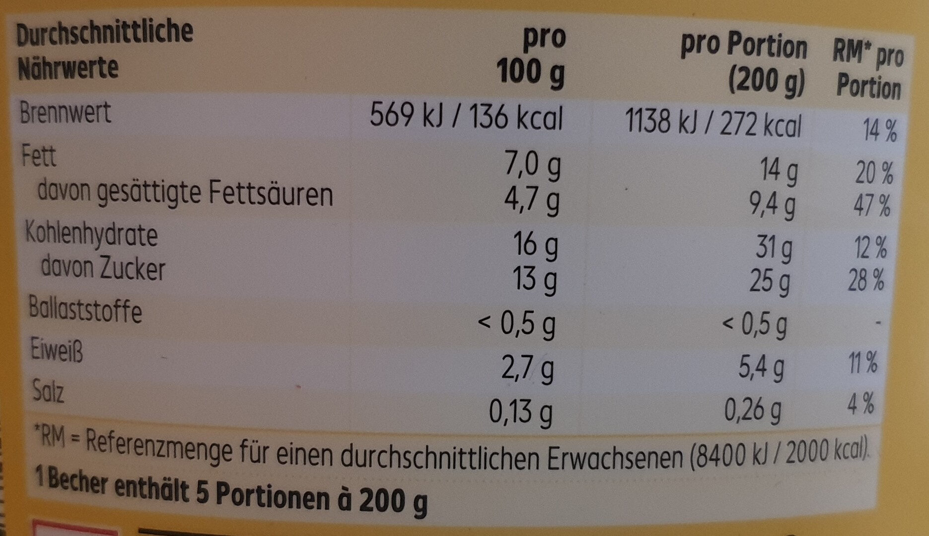 Pudding Vanillegeschmack - Nutrition facts