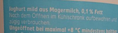 Joghurt mild 0,1% Fett - 成分 - de