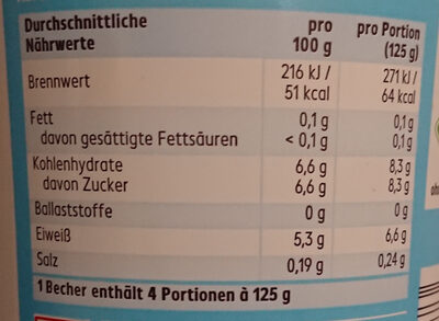 Joghurt mild 0,1% Fett - 营养成分 - de