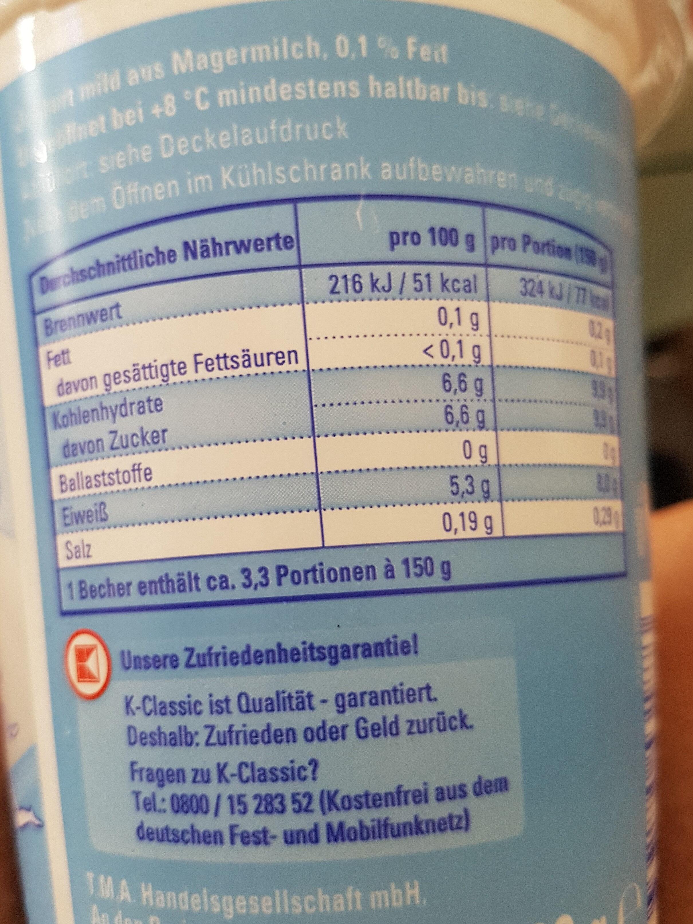 Joghurt mild 0,1% Fett - Voedingswaarden - en