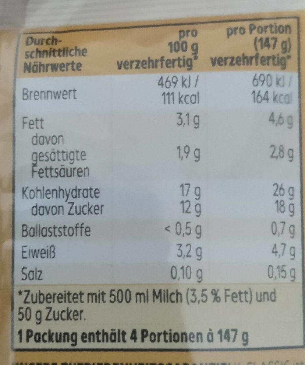 Feiner Pudding Schokolade - Valori nutrizionali - de