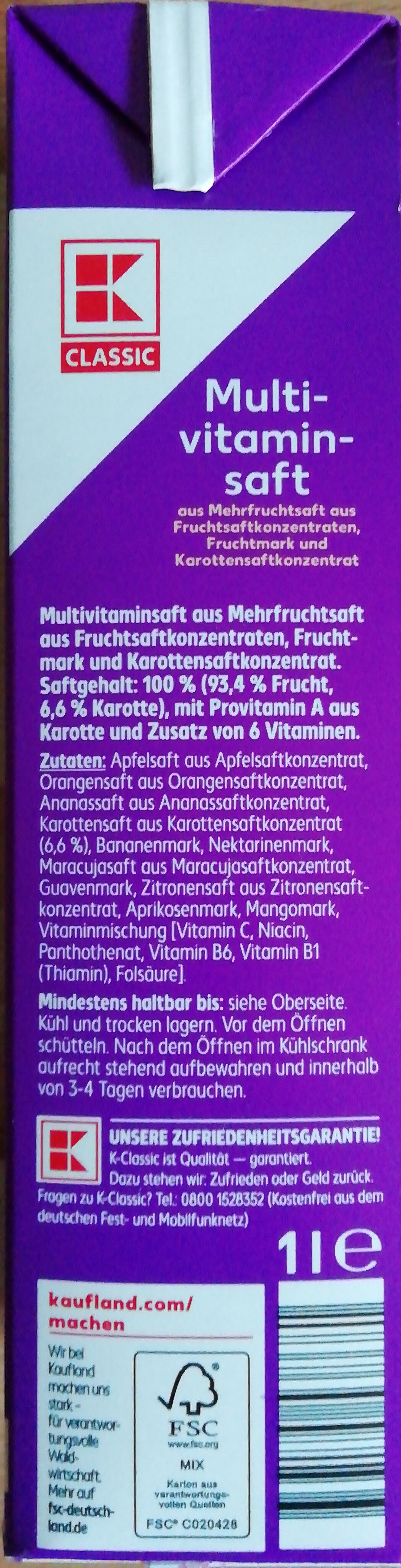 Multivitaminsaft - Ingredients