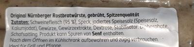 Nürnberger Rostbratwürste - Ingrédients - de
