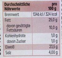 Knoblauch- salami - Informations nutritionnelles - de