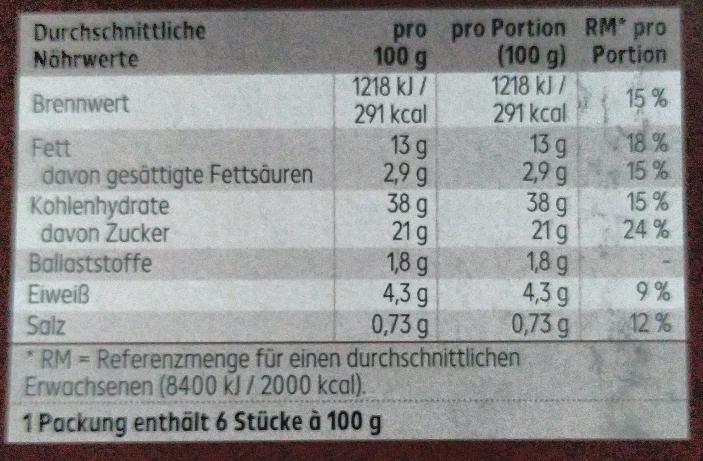 Kirsch-Schokokuchen - Nutrition facts