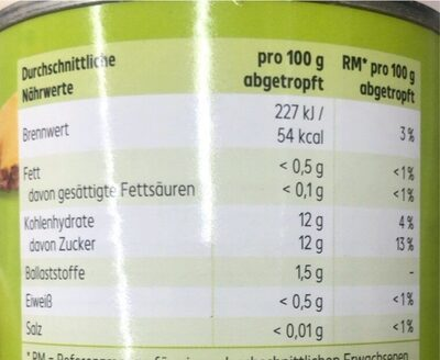 Ananas in Stücken - Nutrition facts