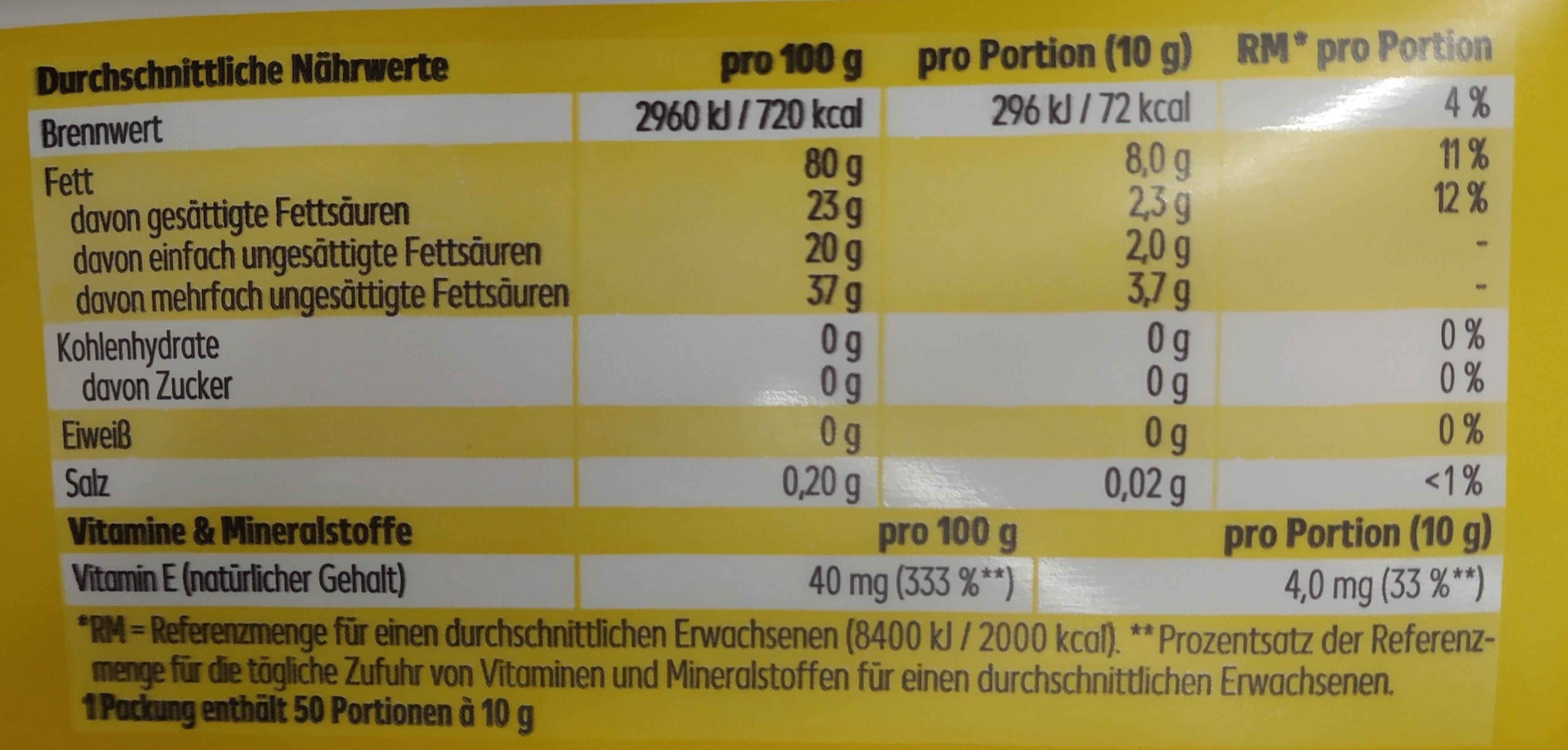 Sonnenblumenmargarine - Informations nutritionnelles - de