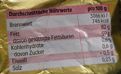 Butter - Nährwertangaben - de