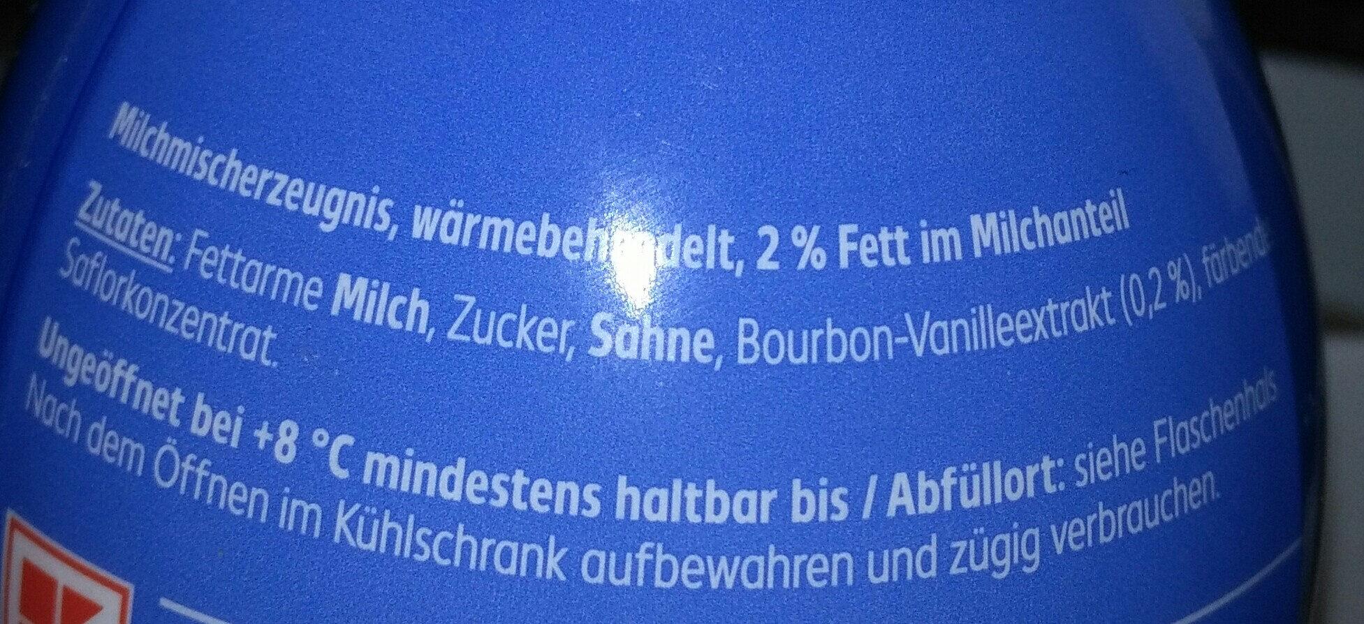 Milch Drink Vanille - Inhaltsstoffe
