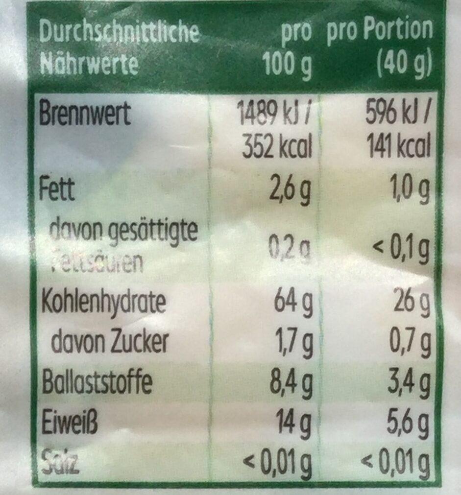 Vollkorn-Dinkelflocken - Informations nutritionnelles - de