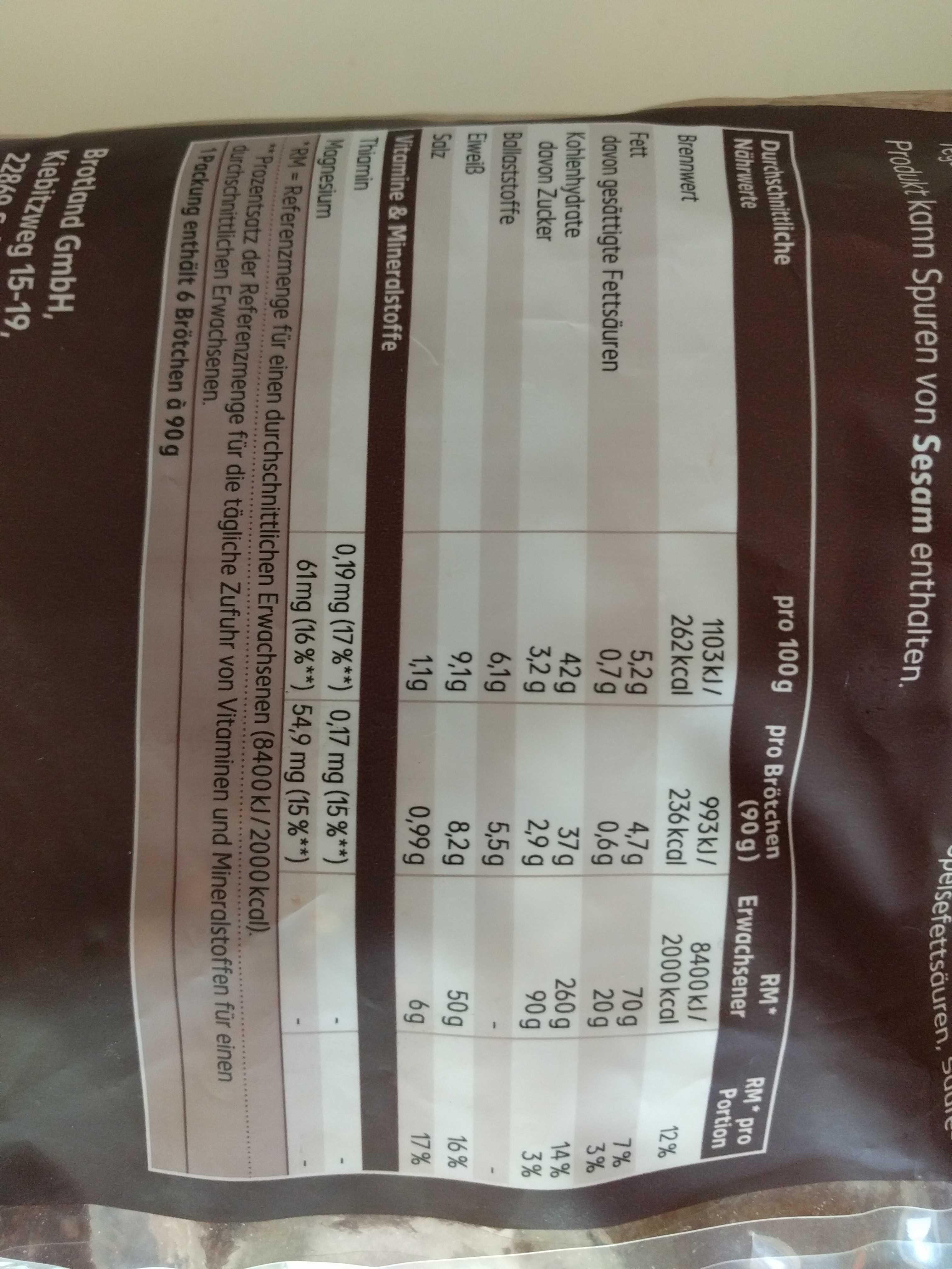 Vital und fit Brötchen - Nutrition facts - en