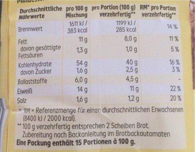 farine - Nährwertangaben - de