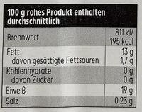 Norwegisches Lachsfilet mit Haut - Nutrition facts